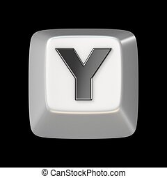 Computer keyboard key FONT. Letter Y 3D render illustration...