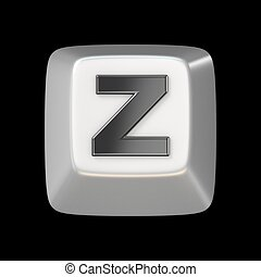 Computer keyboard key FONT. Letter Z 3D render illustration...