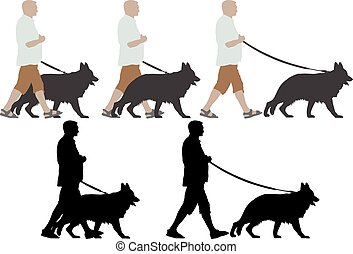 dog - isolated man walking with his german shepherd dog
