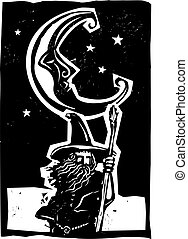 Woodcut Moon and Wizard - Woodcut style moon and fantasy...