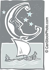 Woodcut style moon and Greek Ship