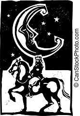 Woodcut style moon and mounted king