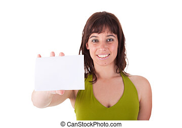 beautiful woman person with blank business card in hand, isolated on white background. Studio shot.