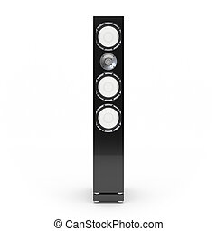Hi-fi speaker isolated on white background 3d rendering -...