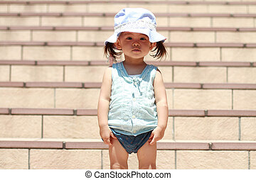 Japanese girl standing on the stairs 1 year old