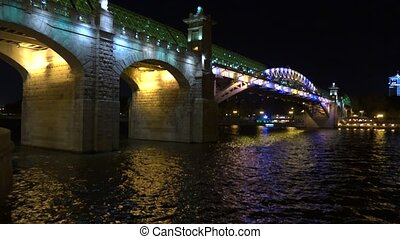 Architectural LED lighting. Moscow river pedestrian bridge...