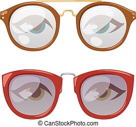Glasses human eye vector - Reading glasses human eye...