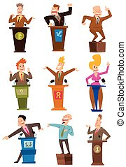 Politicians people vector set - Orator speaks with broad...