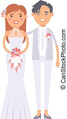 Wedding lesbian couples vector characters - Happy lesbian...