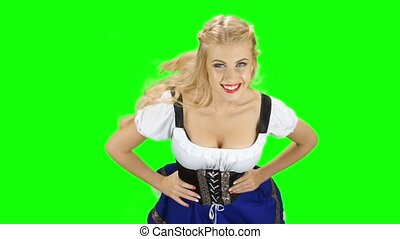 Bavarian girl in the room spinning around herself and smiles...
