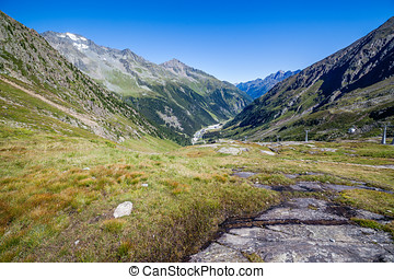View of the Stubai Valley, mountains and valleys, Hiking in...