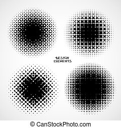 Halftone Backgrounds. Vector Set of Isolated Modern Design Element