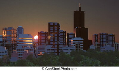 Cityscape at sunrise time lapse - Fantastic big sun rises...