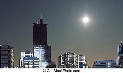 Sun over abstract modern city skyline 4K