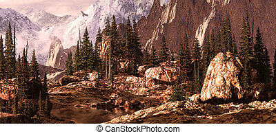 Milner Pass / Rocky Mountains - Falcon soaring above a Rocky...