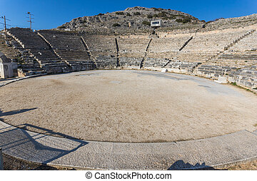 Archeological area of Philippi - Panorama of Ancient Theater...