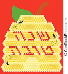 Vector illustration - Rosh Hashana Greeting Card - Vector...