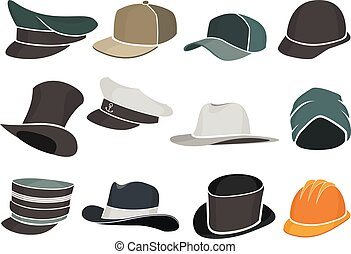 set colored flat hats military and civilian - set of colored...