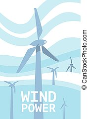 Wind power banner. Renewable resources concept.