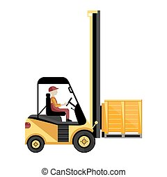 Forklift truck with boxes on pallet.