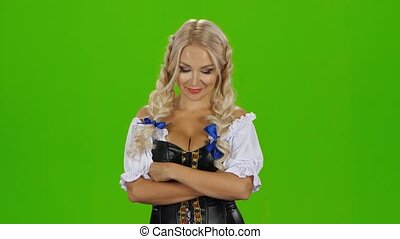 Woman in traditional bavarian costume. Green screen - Woman...