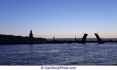 PAN: Silhouette leaf bridge in White nights, St Petersburg,...