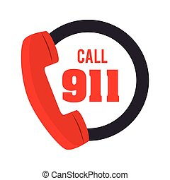 call 911 fire equipement service emergency vector...