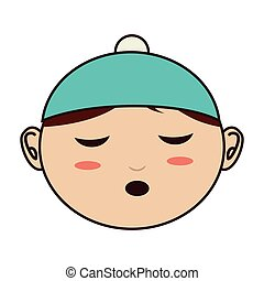 face baby hat closed eyes vector illustration eps 10