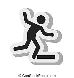 silhouette attention caution drop down vector illustration...