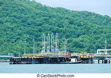 Oil terminal in nature environment