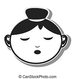 face woman closed eyes designvector illustration eps 10