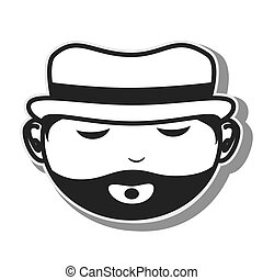 face man hat beard closed eyes vector illustration eps 10