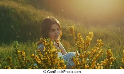 summer the girl with wildflowers slow motion video - Summer...