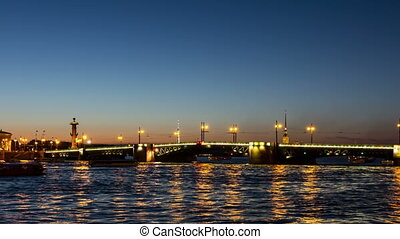 Palace Bridge drawning Dvortsoviy Most, St Petersburg,...