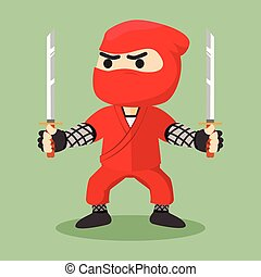 ninja holding dual sword illustration design