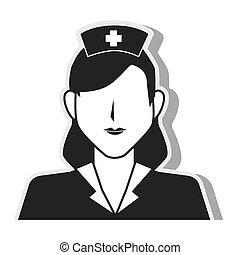 nurse woman silhouette design