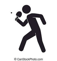 slihouette player ping pong vector illustration eps 10