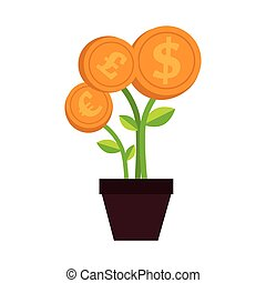 plant money pot dollar isolated vector illustration eps 10