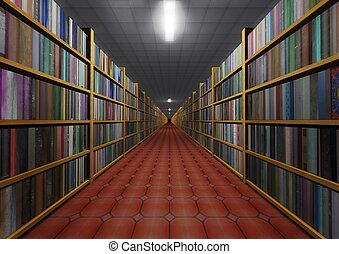 Bookstore - Perspective illustration of lots of books
