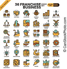 Franchise business icons - Franchise business outline icons...