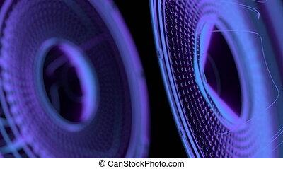 vj musical seamless loop - neon speakers 3D render - vj...