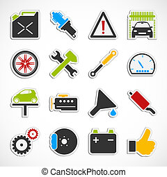 Car Service Icons - color - Set of car service icons over...