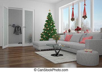 3d - modern livingroom - christmas