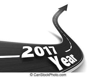 road to 2017 year - 3d illustration of road to new 2017 year