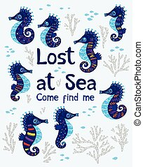 Sea card with stylized cartoon seahorse