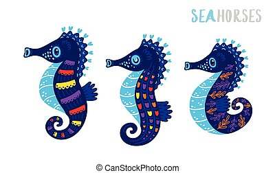 Cartoon family sea horse set. Vector illustration