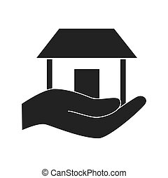 hand holding house isolated isolated vector illustration eps...
