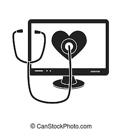 computer stethoscope cardio isolated vector illustration esp...