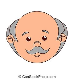 man cartoon old bald isolated vector illustration eps 10