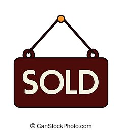 sold sign offer buy isolated